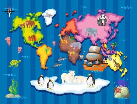 Wild animals in different part of the world illustration
