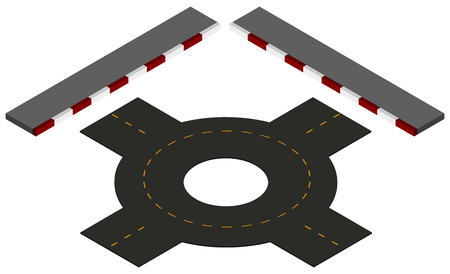 roundabout: Road design with roundabout and pavements illustration