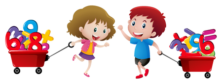 Boy and girl pulling wagon of numbers illustration Çizim
