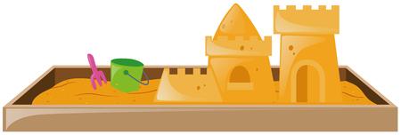 sandbox: Sandbox with sandcastle and bucket illustration Illustration
