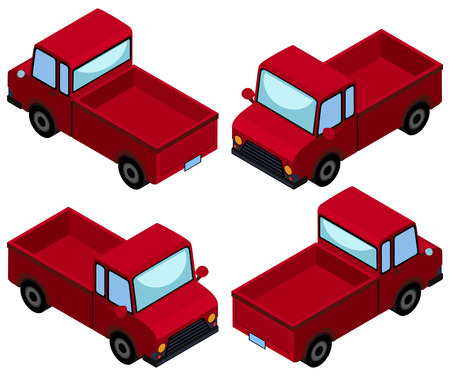 Red pick up trucks from four different angles illustration