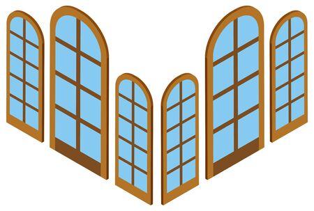3D design for different sizes of windows illustration Illustration