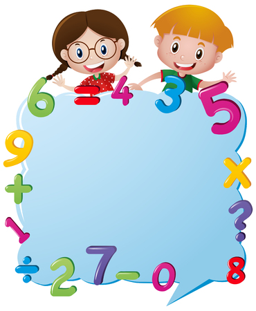 Border template with kids and numbers illustration
