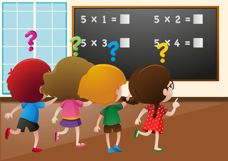 countable: Students working out math problem in class  illustration
