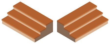 icon series: 3D design for wooden steps  illustration Illustration