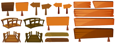 Wooden signs and bridges illustration
