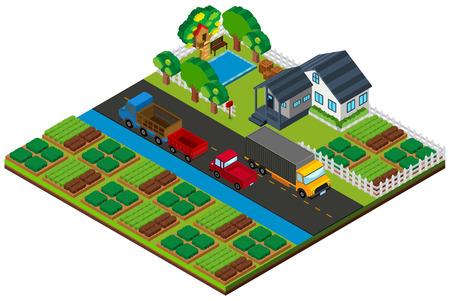 3D design for farmland with house and cars on the road illustration