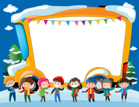 schoolbus: Border template with kids and schoolbus illustration Illustration