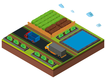 3D design for farm scene with trucks on road illustration Illustration