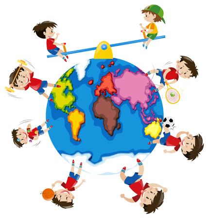 Boy doing different activities around the world illustration