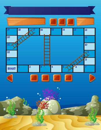 underwater scene: Boardgame template with underwater scene illustration