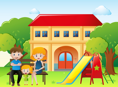 People in family sitting in the yard at home illustration