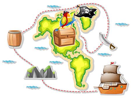 Treasure map and pirate ship illustration