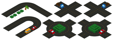 Isometric intersections on white background illustration