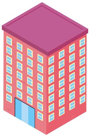 3D design for building in pink color illustration