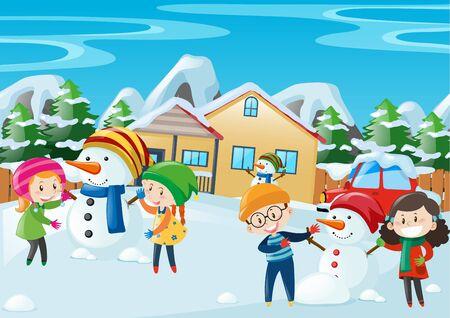 Happy kids playing in winter illustration Illustration