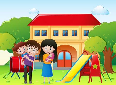 Family in a park with house illustration