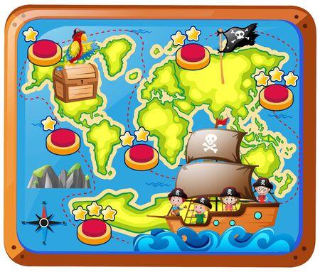 Treasure map with kids on the ship illustration Фото со стока - 70917619