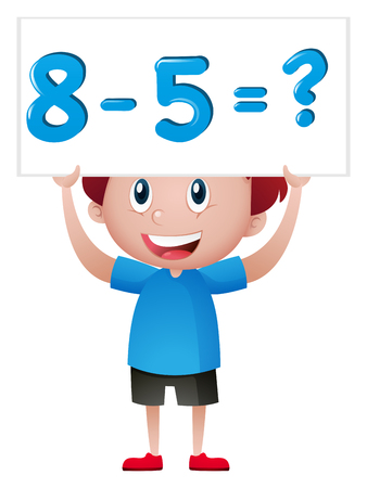 numbers clipart: Boy with math problem sign illustration Illustration