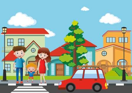 Family crossing street in village illustration