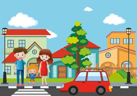 Family crossing street in village illustration