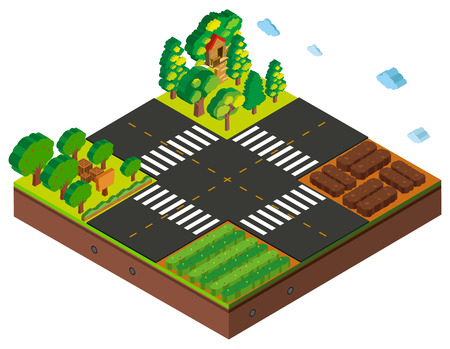 Isometric intersection scene with farming crops and trees illustration Illustration