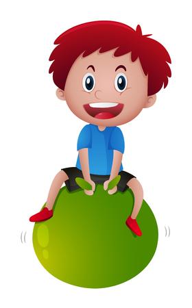 녹색 공 그림에 앉아 어린 소년