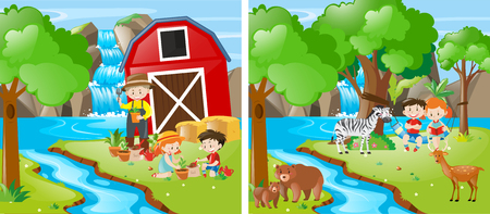 Kids farming by a stream illustration Illustration