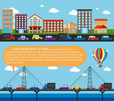 bridge over water: Inforgraphic city scene with roads illustration