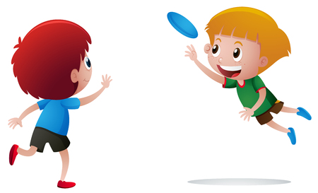 Two boys playing frisbee illustration