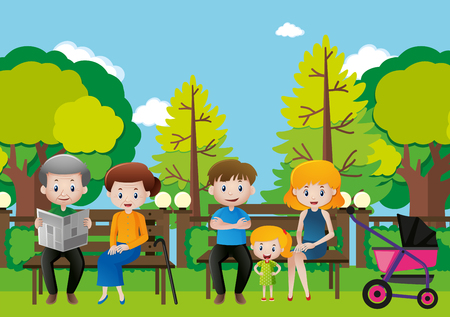 Family sitting in a park illustration