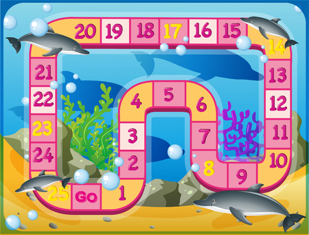 numbers clipart: Boardgame template with dolphins swimming underwater illustration