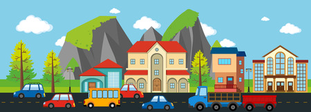 City scene with buildings and cars illustration