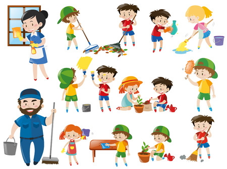 Adults and kids in various cleaning positions illustration Vectores