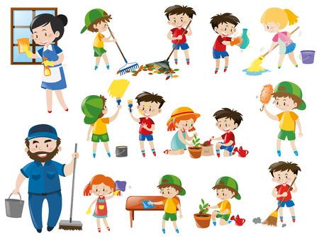 Volwassenen en kinderen in verschillende schoonmaakposities illustratie