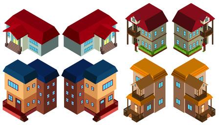 3D-Design für verschiedene Arten von Häusern Illustration Standard-Bild - 70917713