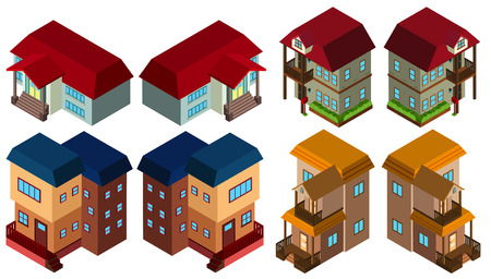 3D design for different styles of houses illustration