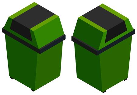 botes de basura: Isometric green trash cans on white illustration