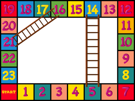numbers clipart: Boardgame design with colorful blocks and ladders illustration