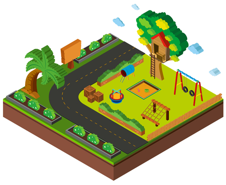 3D design for playground by the road illustration