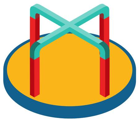 spin: Playground equipment turning spin game illustration Illustration