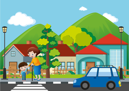 Neighborhood scene with people crossing road illustration Illustration