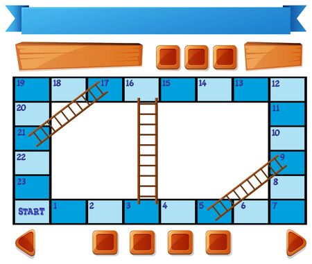 numbers clipart: Blank blue board game on white illustration