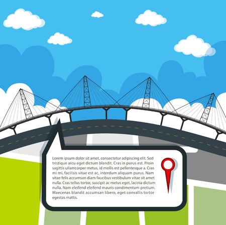 bridge over water: Bridge and map over water illustration