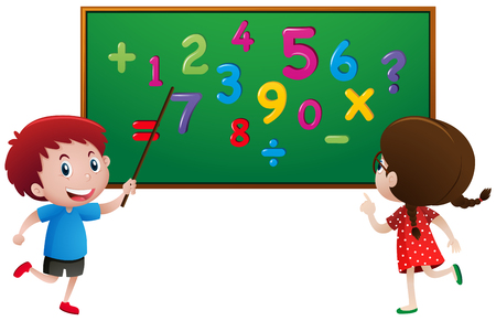 Boy and girl counting numbers on the board illustration