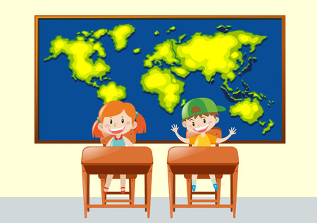 geography: Two students in geography class illustration