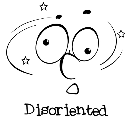disoriented: Expression wordcard for word disoriented illustration