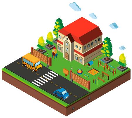 Isometric school playground scene illustration