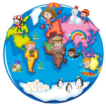 世界図のさまざまな部分で子供