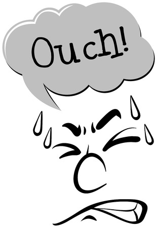 ouch: Facial expression and word ouch illustration
